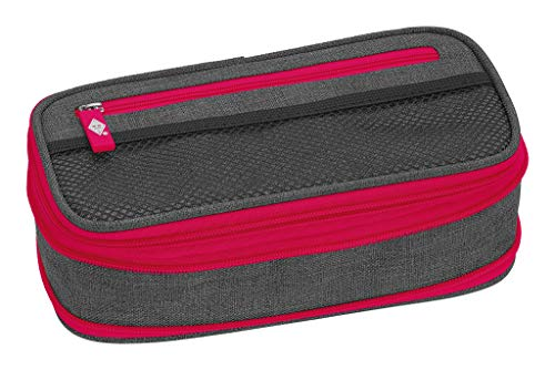 WEDO 24244009 Schlamperbox NEON Stretch, vergrößerbar, mehrere Fächer, Stiftschlaufen, inkl. Stundenplan, grau neon-rosa