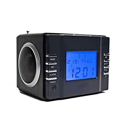 DXJ Radiosveglia con Lettore MP3, Mini Altoparlante con Radio FM, Schede SD, Porta USB e Ingresso AUX (3,5 mm Jack), 2 Altoparlanti Hi-Fi da 3W e Batteria Interna Ricaricabile, Nero