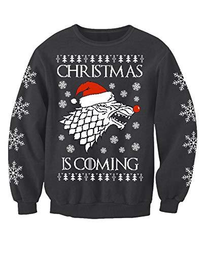 Game of Thrones inspiriert Erwachsene Winter is Coming Neuheit Weihnachten Sweatshirt Pullover Gr. M, grau