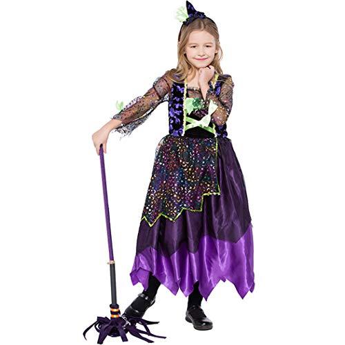 Jeff-chy Kinderkleding Halloween Carnaval Gekleurde vleermuizen Kleine Heks Leuke Heks Magic Rok Stage Prestatie Kostuum Hoofddeksels