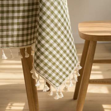 XXDD Mantel Rectangular a Cuadros servilletas borlas con servilletas hogar Cocina decoración Pastoral Mantel A4 150x210cm