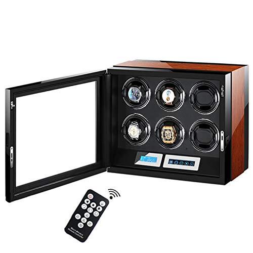 LJP Caja de reloj automática con motor silencioso de 5 modos de rotación con 6 espacios de almacenamiento de devanadera de reloj pantalla LCD