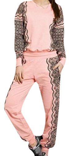 Comfy Women's Relaxed Tracksuit Set Comfort Soft Sweatsuit Set Pink L