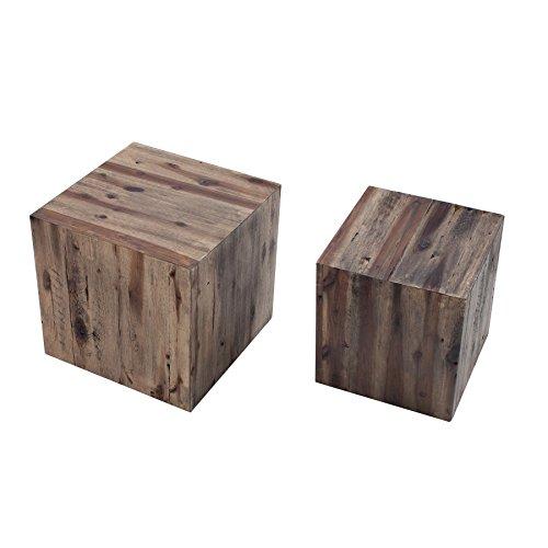 Invicta Interior Hochwertiges 2er Set Beistelltische COLUMNA Treibholz Vintage Couchtisch Tische Satztische Holztische