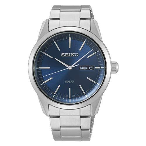 Seiko Solar SNE525P1 - Reloj para hombre, correa de metal de acero inoxidable