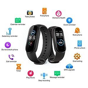 """Xiaomi Band 5 Pulsera Inteligente de Actividad, Monitor de Ritmo Cardíaco, Salud Femenina, Smartband 5ATM a Prueba de Agua, 11 Modos Deportivos, Fitness Tracker con 1.1""""Pantalla Dinámica Color, Negro"""