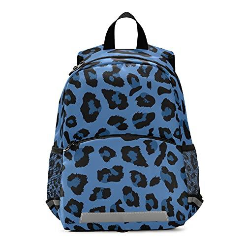 Mnsruu Mochila para niños, color azul oscuro con estampado de leopardo para guardería, bolsa de viaje para niños pequeños