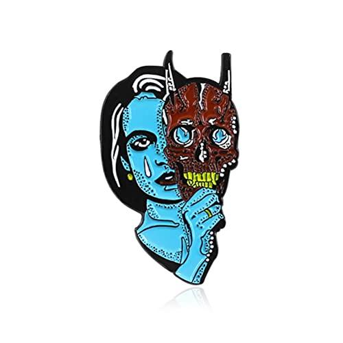 Broche de Halloween Horror diablo cara cubierta broche alfileres para mujer Esmalte Triste bruja gótica Denim camisa bolsa de dibujos animados joyería regalo
