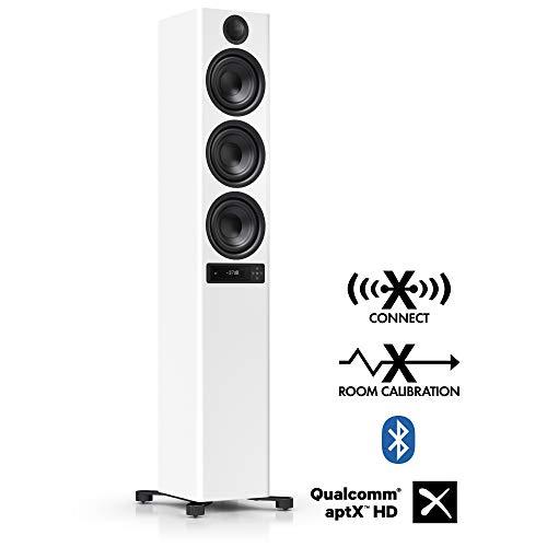 Nubert nuPro X-6000 RC Standlautsprecher | Bluetooth Lautsprecher aptX HD | Lautsprecher Verbindung kabellos High Res 192 kHz/24 bit | aktive Standbox 3.5 Wege | High End Lautsprecher Weiß | 1 Stück