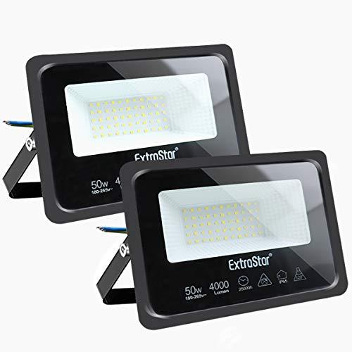 Focos LED exterior 50W Extrastar Potente Luces Led Exterior IP65, Luz de Seguridad Luz fría 6500K para Terraza, Jardín, Patio, Parque, Garaje [Clase de eficiencia energética A+]2 paquetes