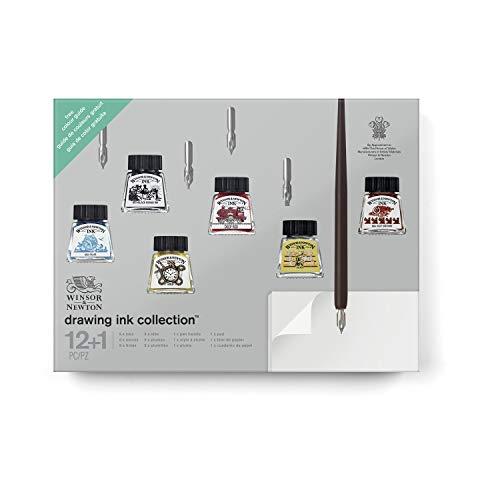 Winsor & Newton Ink - cofanetto regalo - 6 flaconi inchiostro da 14ml + 5 pennini + carta