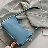 Mdsfe Bolso con asa para Mujer Bolso Retro de Cuero de PU Totes de Hombro Bajo el Brazo Bolso con asa Superior Vintage Bolso pequeño para Mujer Subaxillary Clutch - Azul