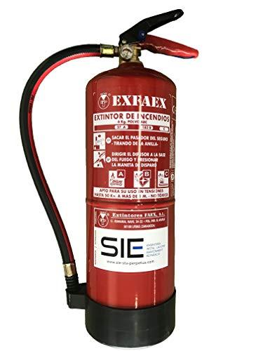Extintor de polvo 6 Kg. Eficacia 27A 183B-C. Incluye soporte pared, base de plástico y cartel fotoluminiscente