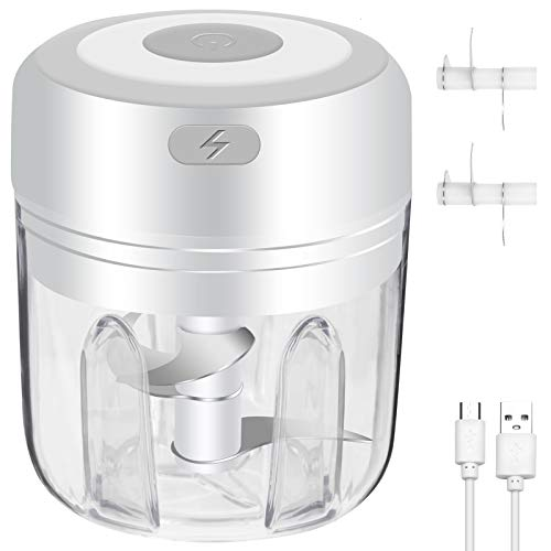 Mini Electric Garlic Chopper, Powerful Mini Food Chopper Mini Baby Food Processor Palm-sized Blender for Beef/Fruits/Vegetables/Garlic/Onion- 2 Blades Included (250ml/ 8.4oz)