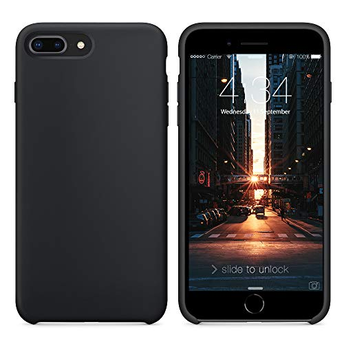 SURPHY Cover Compatibile con iPhone 8 Plus/iPhone 7 Plus, Custodia in Silicone Liquido Cover Antiurto con Fodera in Microfibra, Ultra Sottile Protettiva Case per iPhone 8/7 Plus 5.5, Nero