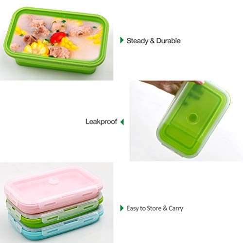 Silicone Food Storage Containers with Lids – 3 Pack Set 1200ml Collapsible Meal Prep Lunch Containers Bento Boxes…
