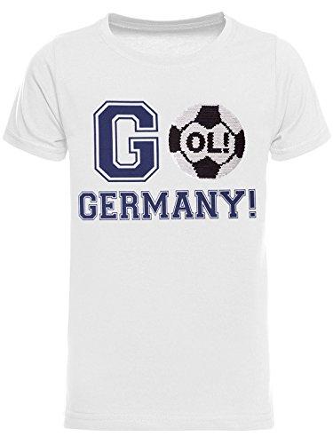BEZLIT Jungen WM T-Shirt GO Germany Wende-Pailletten 22687 Weiß Größe 164