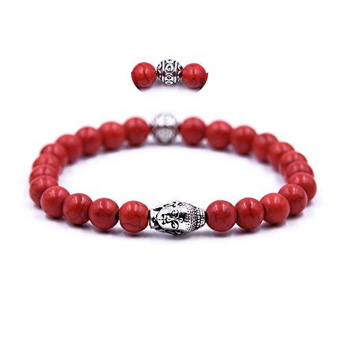 Bracelet Perle Bouddhist - Bracelet en Pierre Naturelle d'Energie Tibétain et Tête de Bouddha