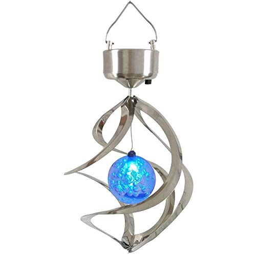 StillCool Solar Wind Chime LED Colour Changing Hanging Wind Light Waterproof Spiral Spinner Lamp