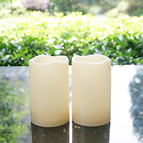 Flameless LED Candles Battery operated Outdoor Indoor Flickering Pillar Candles with Timer Water Resistant Long Lasting Candle Lights for Wedding Party Centerpiece Home Garden Decorations 3'x5' 2-Pack