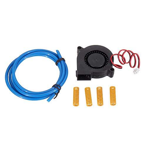 MURUI Qax1 Ventilador de enfriamiento del soplador de 12V DC 5015 con 2 * 4mm PTEF Tube & 4PCS 8 * 25 Kit de Resorte de Cama Caliente para la Parte de la Impresora 3D YC0304