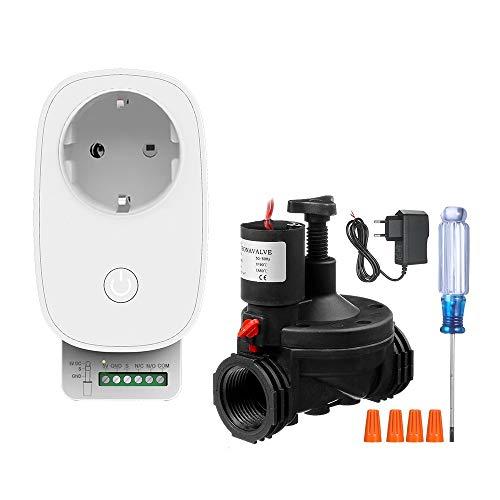 Smart Irrigation Control, KKmoon® Smart Irrigation WiFi Timer Système de Contrôleur Automatique d'arrosage de Pelouse avec Commande Vocale d'électrovanne Compatible avec Amazon Alexa Google Assistant