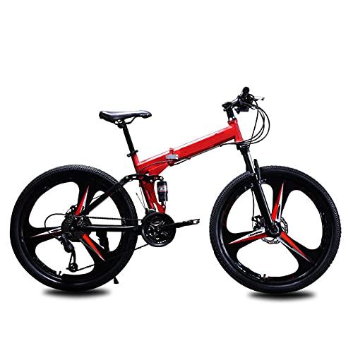 ZEMENG Bicicleta Plegable, Bicicleta de montaña Plegable de 21 velocidades, Bicicleta de Marco de Acero al Carbono con Frenos de Doble Disco Bicicleta Ligera para Adultos,Rojo,24'