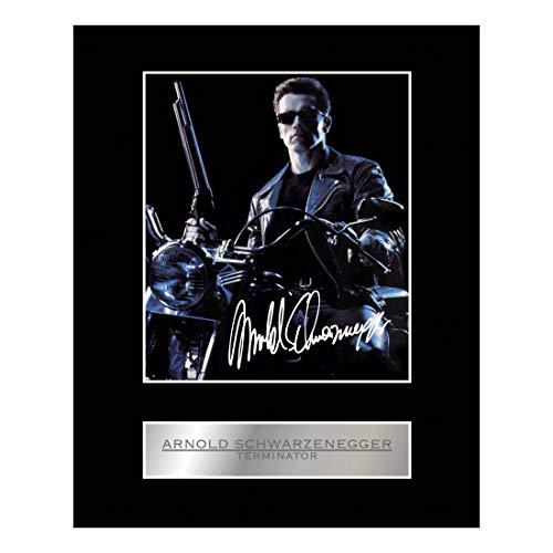Arnold Schwarzenegger Signiertes Foto mit Passepartout, The Terminator #01, signiertes Geschenk, Kunstdruck