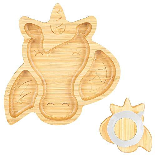 Tiny Dining infantil de bambú succión unicornio Plate - segmentado de diseño, respetuoso del medio ambiente - Blanco