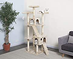 "72 High Beige Cat Tree Material: Compressed wood, faux fur, sisal rope For medium to large size cat Assembly instruction and tools included * Overall Size : 33""W x 22""L x 72""H * Base Board Size : 23.5""W x 21.5""L * Size of Big Condo : 18""W x 12.5""L x ..."