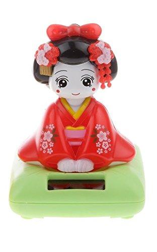 FEERIES ET MERVEILLES Poupee Japonaise, Figurine Geisha Rouge Solaire, Manga, Statuette FEE - HT 10 x 7 cm