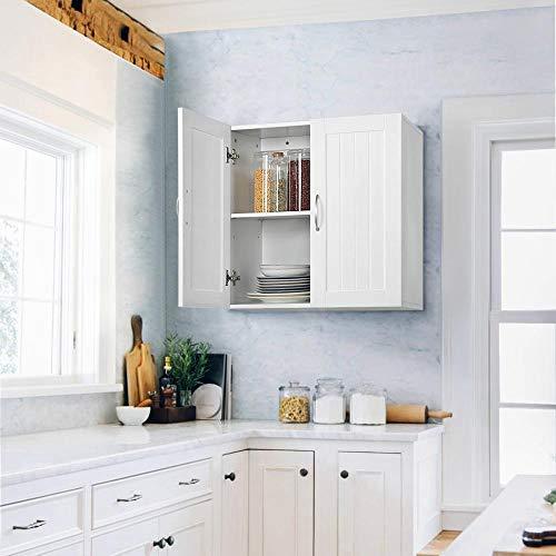 Topeakmart Home Kitchen/Bathroom/Laundry 2 Door 1 Wall Mount Cabinet, White, 23in x 23in