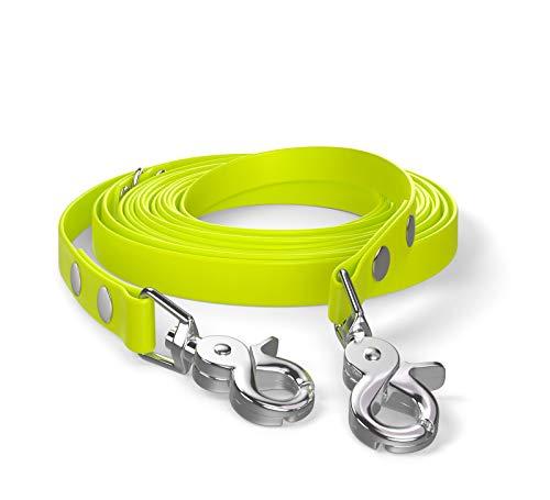 SNOOT 5m Schleppleine, Hundeleine, 2 Karabiner & D-Ring, Neon-Gelb, sehr stabil, schmutz- und wasserabweisend