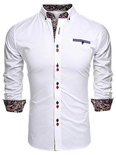 Coofandy Mens Fashion Slim Fit Dress Shirt Casual Shirt,01-white,XX-Large