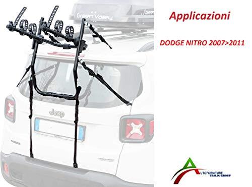 Fietsendrager gemonteerd en gebruiksklaar (3 fietsen) voor achterklep of kofferbak voor auto speciaal voor DODGEE Nitro 2007>2011