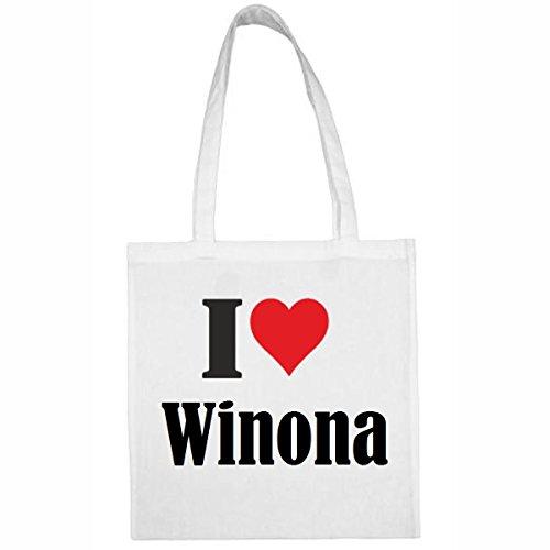 Reifen-Markt Tasche I Love Winona Größe 38x42 Farbe Weiss Druck Schwarz