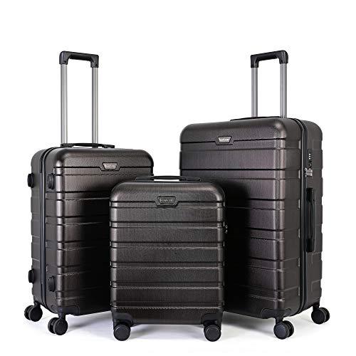 BONTOUR Kofferset Suitcase Set, Hartschalenkoffer 4 Rollen aus Polycarbonat Material mit TSA-Schloss (Bronze, Kofferset 3 teilig)