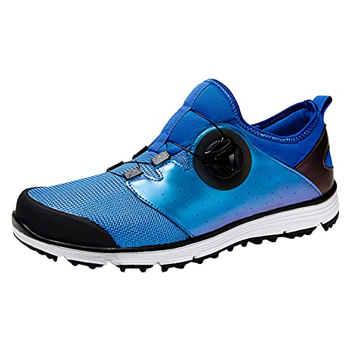Calzado De Golf para Hombre Cuero A Prueba De Agua Calzado A Prueba De Caminata Antideslizante Pusas Transpirables De Golf Zapatos De Entrenamiento De Hierba,Azul,45 EU