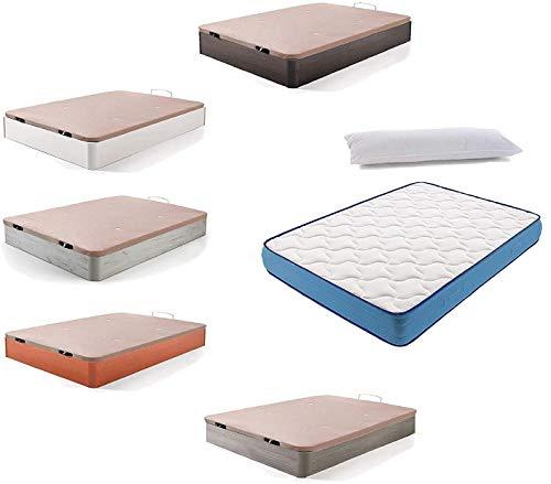 HOGAR24 ES Cama Completa - Colchón Viscoelástico Viscorelax + Canape Abatible de Madera Color Blanco Vintage + Almohada de Fibra, 135x190 cm