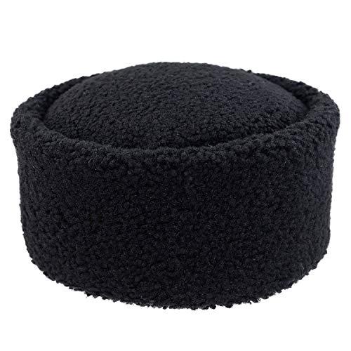 Derisitesi Zwarte schapenvacht Kaukasus hoed unisex wintermuts handgemaakte lederen hoed