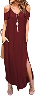 Womens Cold Shoulder Short Sleeve Ruffle V Neck Spaghetti Straps Side Split Loose Casual Beach Maxi Dress with Pockets