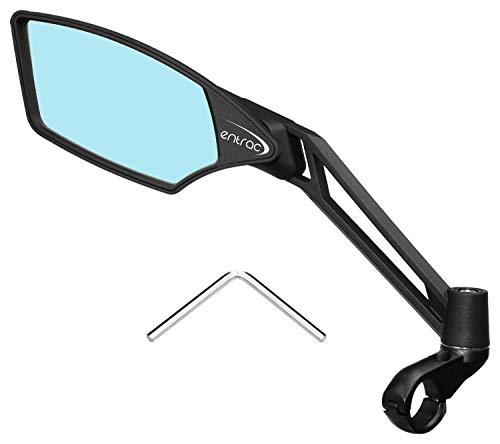 Entrac Handlebar Bike Mirror, Clear Wide-angle Rear-View, Anti-Glare Coating, Shatterproof, Scratchproof Glass, Highly Adjustable, Fiber-Reinforced Nylon Structure, Comes with a Hex Key (Blue Left)