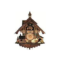 Engstler Quartz Cuckoo Clock Black Forest House with Moving Wood Chopper and Mill Wheel, with Music EN 483 QMT