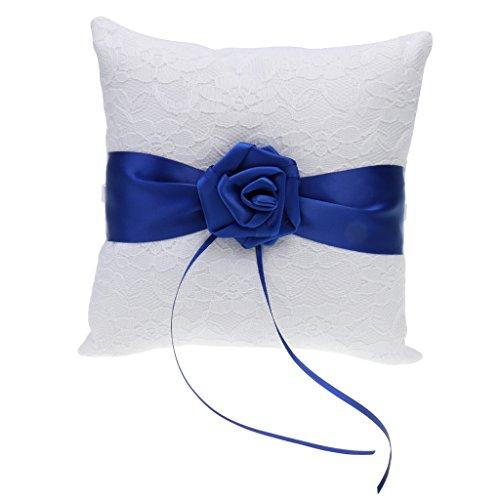 FLAMEER Satinband Hochzeit Tasche Ring Kissen Ring Träger Kissen Geschenk 20x16 cm - Blau