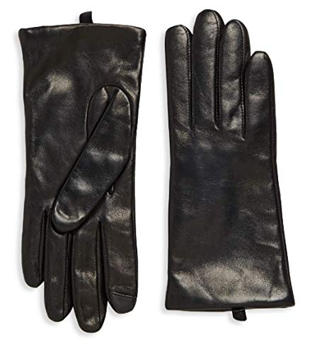 Saks Off Fifth Avenue Women`s Leather Gloves, Cashmere-Lined 100% Sheepskin Leather, Black, Size 7