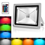 Warmoon LED Flood Light 10W RGBW Outdoor Spotlight IP65 Waterproof Color Changing Dimmable Secu…