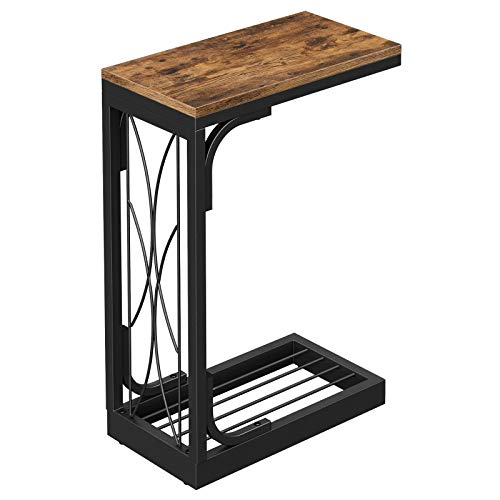 VASAGLE Industrial Snack Table, Heavy-Duty Sofa Side Table for Living Room, Steel Frame, Rustic Brown and Black ULNT040B01