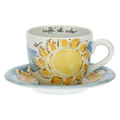 THUN - Tazza Grande Decorata con Piattino - Accessori Cucina - Linea Happy - Porcellana - 500 ml