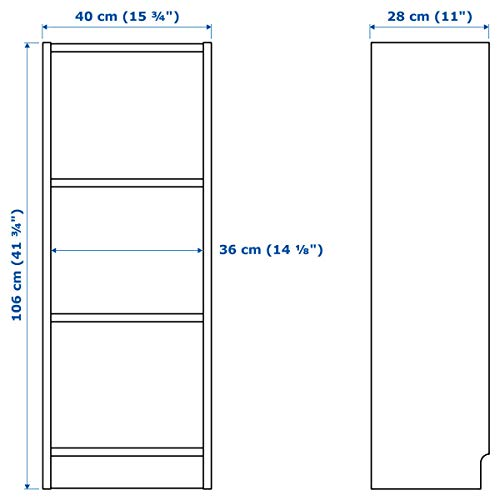 IKEA BILLY - Estantería (40 x 28 x 106 cm), color blanco