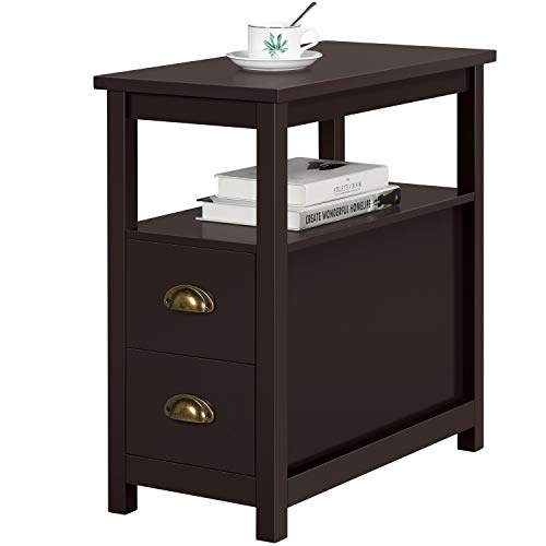 YAHEETECH Chairside End Tables with 2 Storage Drawers and Shelf Narrow Space for Living Room, Espresso